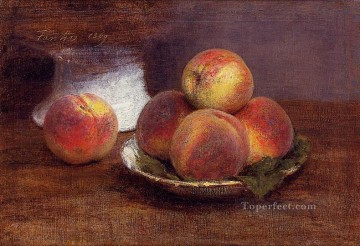 Still life Painting - Bowl of Peaches Henri Fantin Latour still lifes